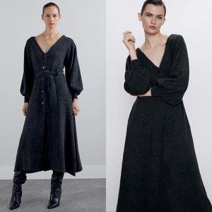 Zara Knit Midi Dress with Bow ➰